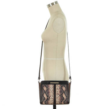 Carrie Crossbody Pink Ellora on figure for scale