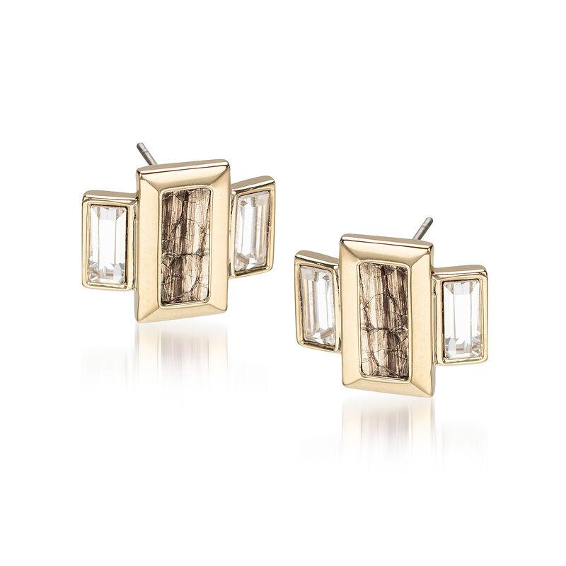 Emerald Cut Crystal Earrings Gold Fairhaven