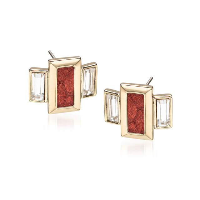 Emerald Cut Crystal Earrings Garnet Fairhaven, Garnet, hi-res