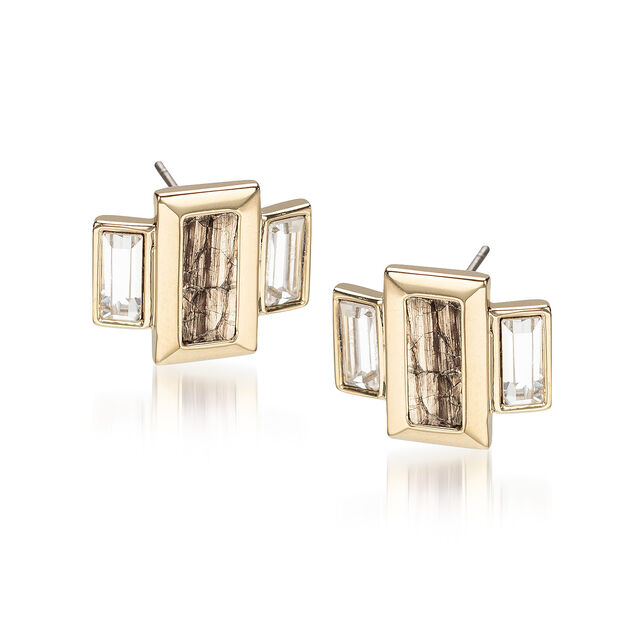 Emerald Cut Crystal Earrings Gold Fairhaven, Gold, hi-res