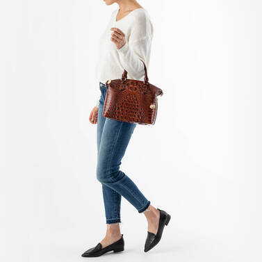 Duxbury Satchel Bluebell Ombre Melbourne on figure for scale