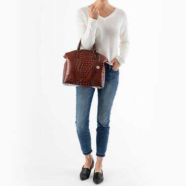 Large Duxbury Satchel Cocoa Ombre Melbourne on figure for scale
