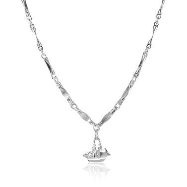 Endless Flat Bar Chain Rhodium Plated Providence Side