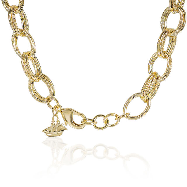 Double Cable Link Necklace 18K Gold Plated Providence, 18K Gold Plated, hi-res