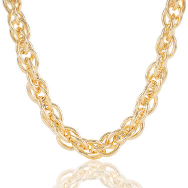 Double Round Chain Necklace Light Gold Providence Front