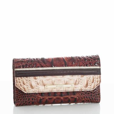 Soft Checkbook Wallet Pecan Eastwood Side