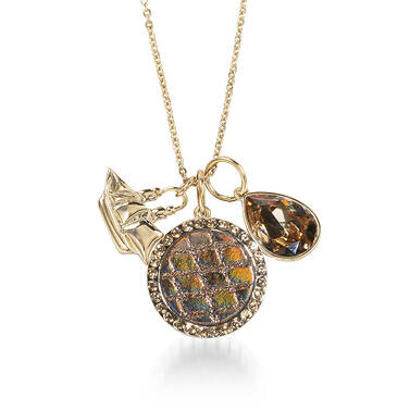Crystal Charm Necklace Bronze Fairhaven Front