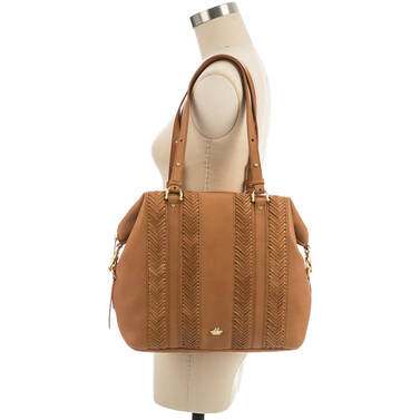 Delaney Tote Tan Knoxville on figure for scale