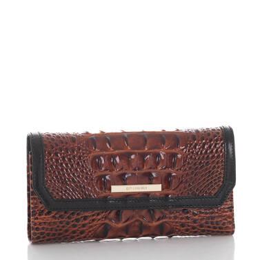 Soft Checkbook Wallet Pecan Fitzgerald Side