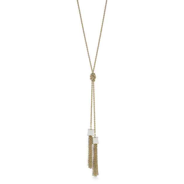 Fairhaven Duo Tassel Necklace Ivory Jewelry, Ivory, hi-res