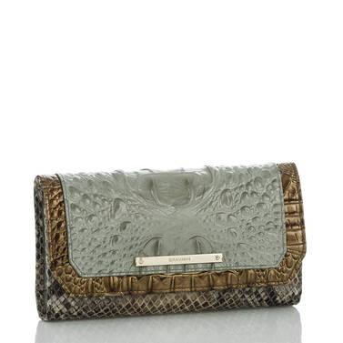 Soft Checkbook Wallet Silver Sage Kansai Side
