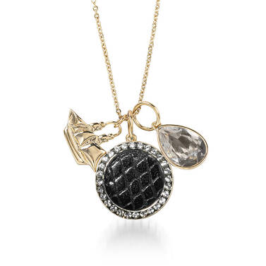 Crystal Charm Necklace Black Fairhaven Front