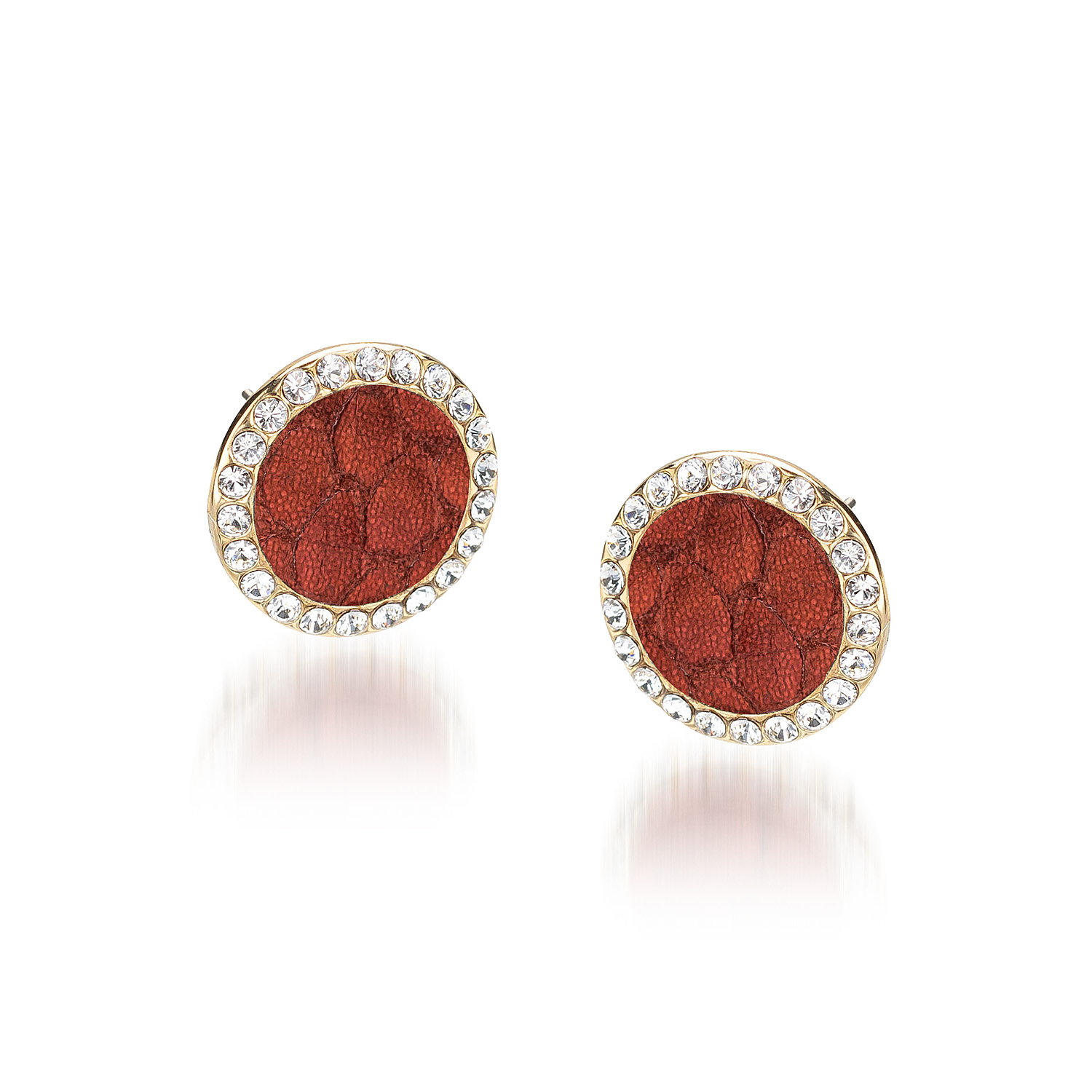 Round Crystal Earrings Garnet Fairhaven