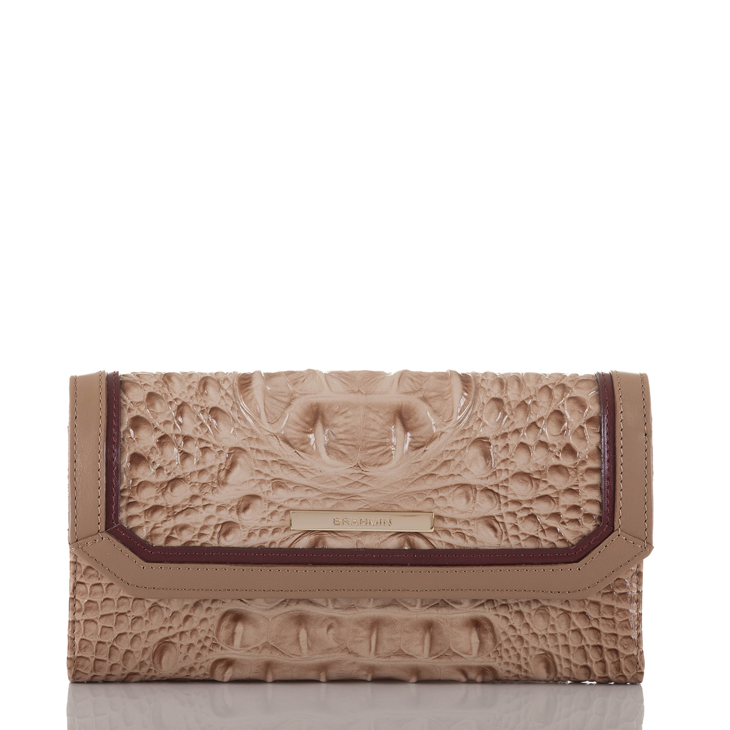 Soft Checkbook Wallet Travertine Cordina Front