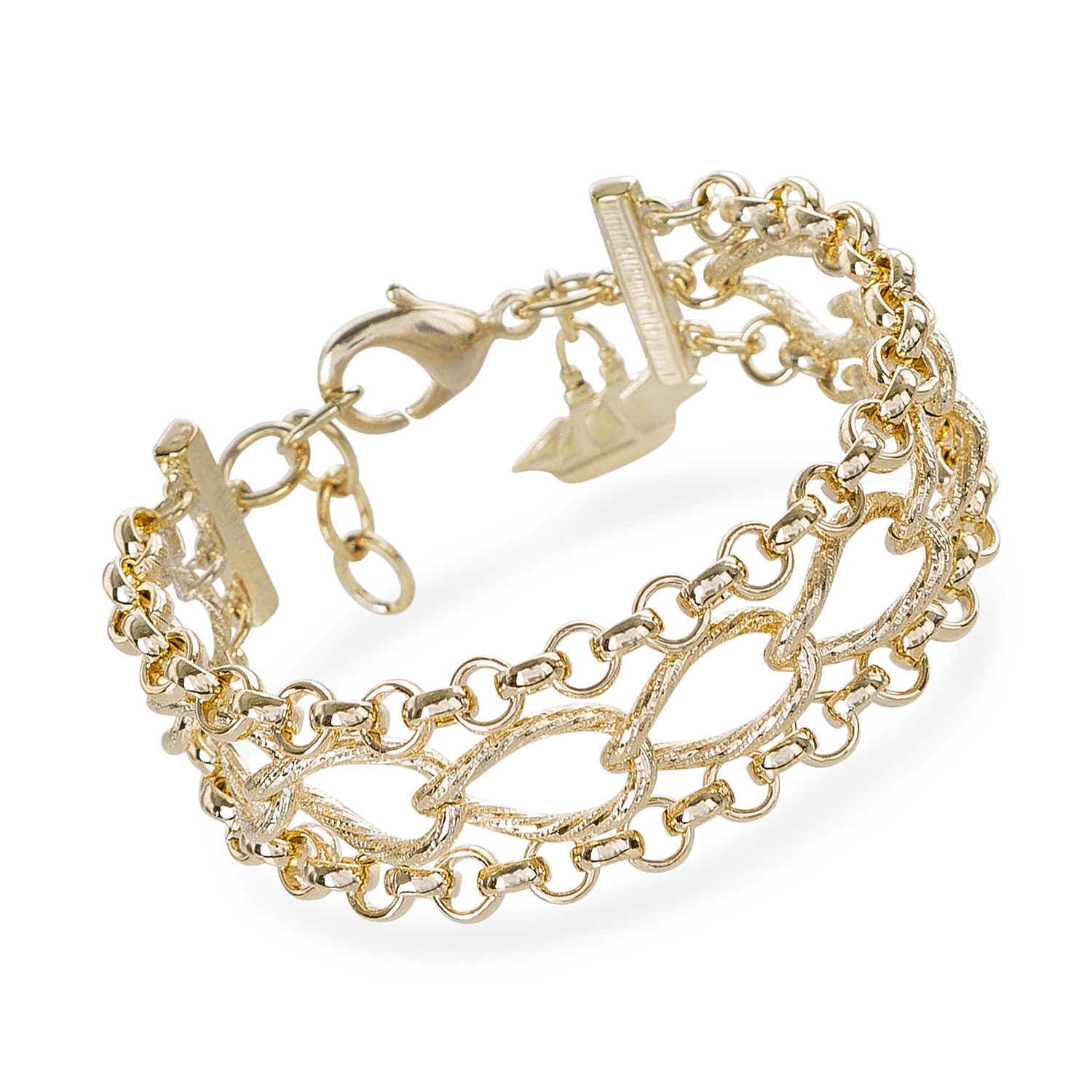 Three Row Chain Bracelet 18K Gold Plated Providence