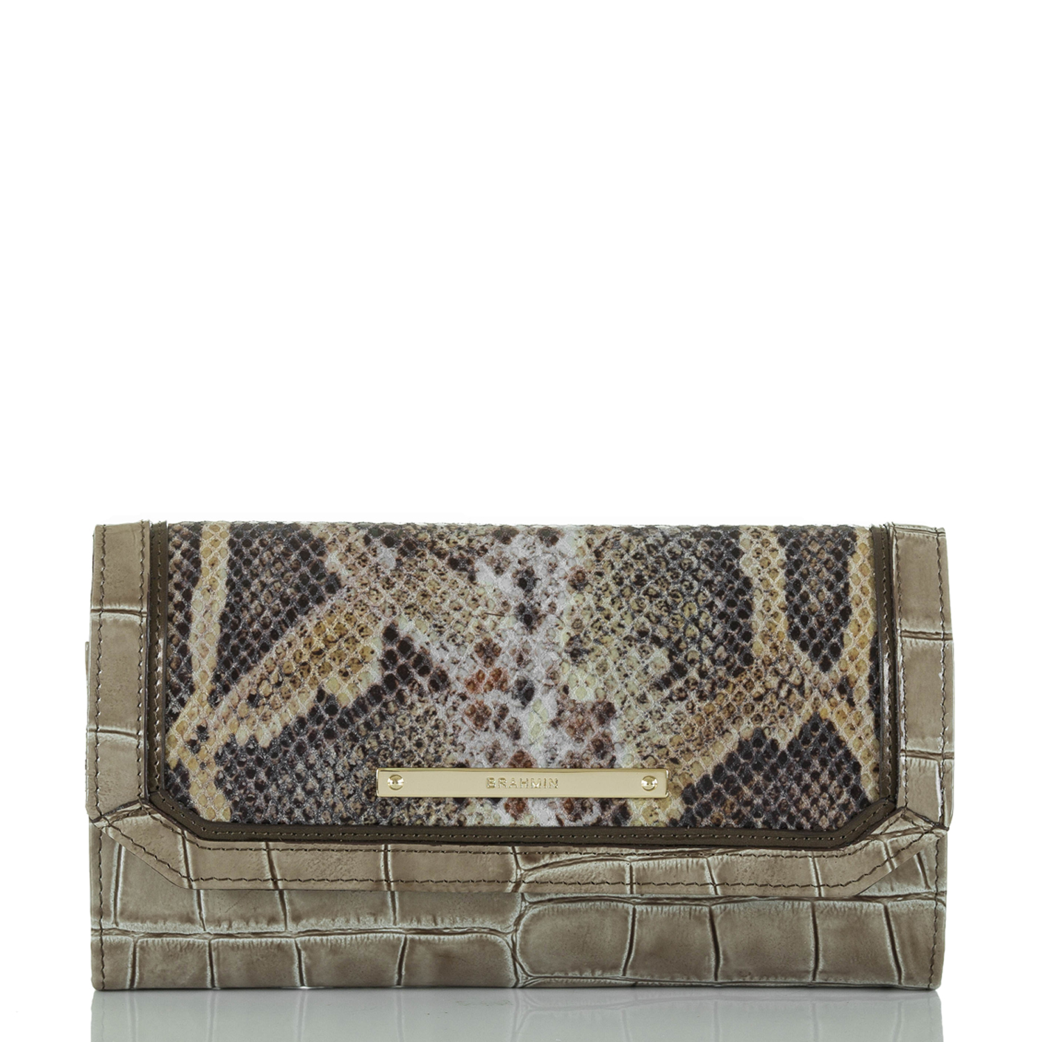 Soft Checkbook Wallet Natural Leighton Front