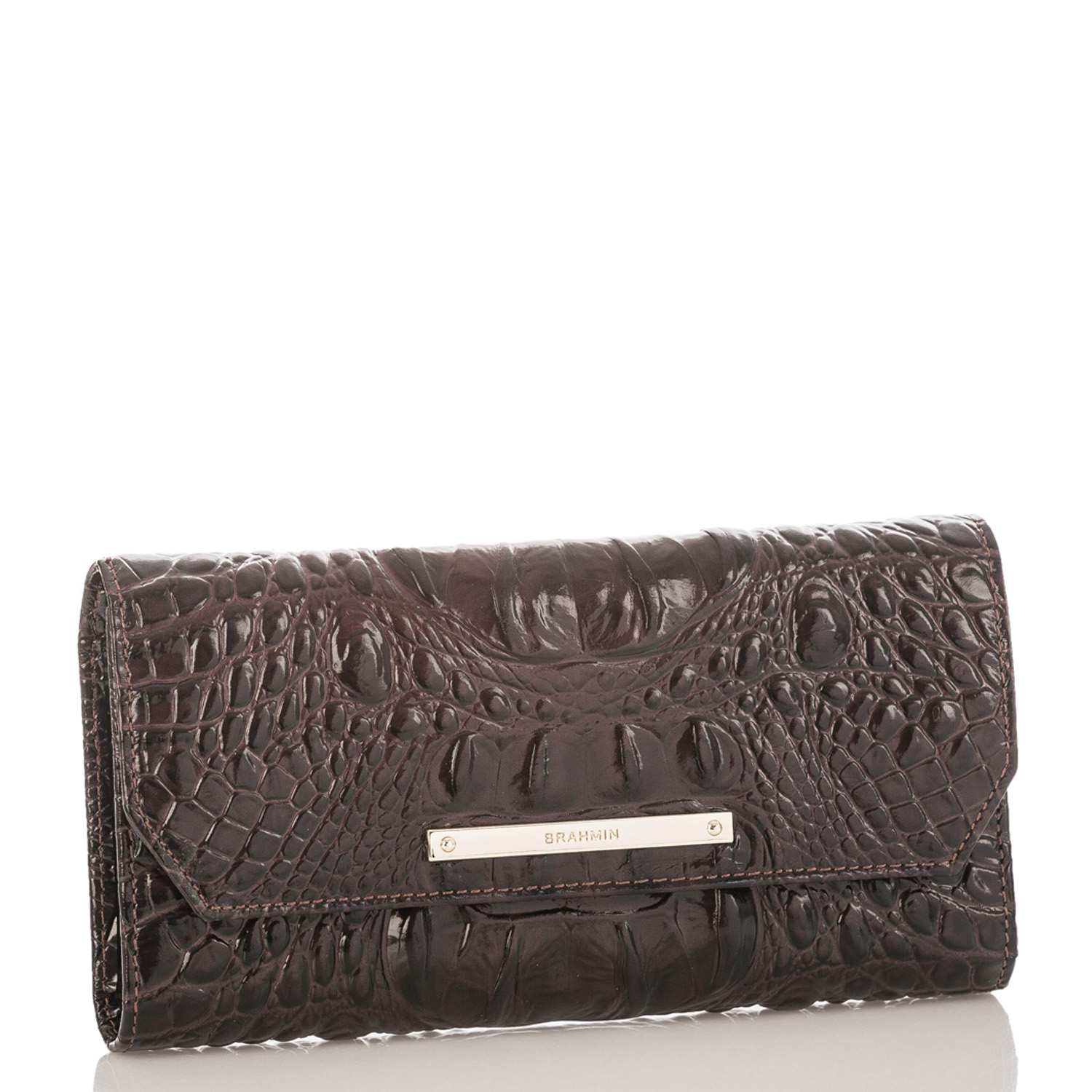 Soft Checkbook Wallet Siltstone Bologna Front