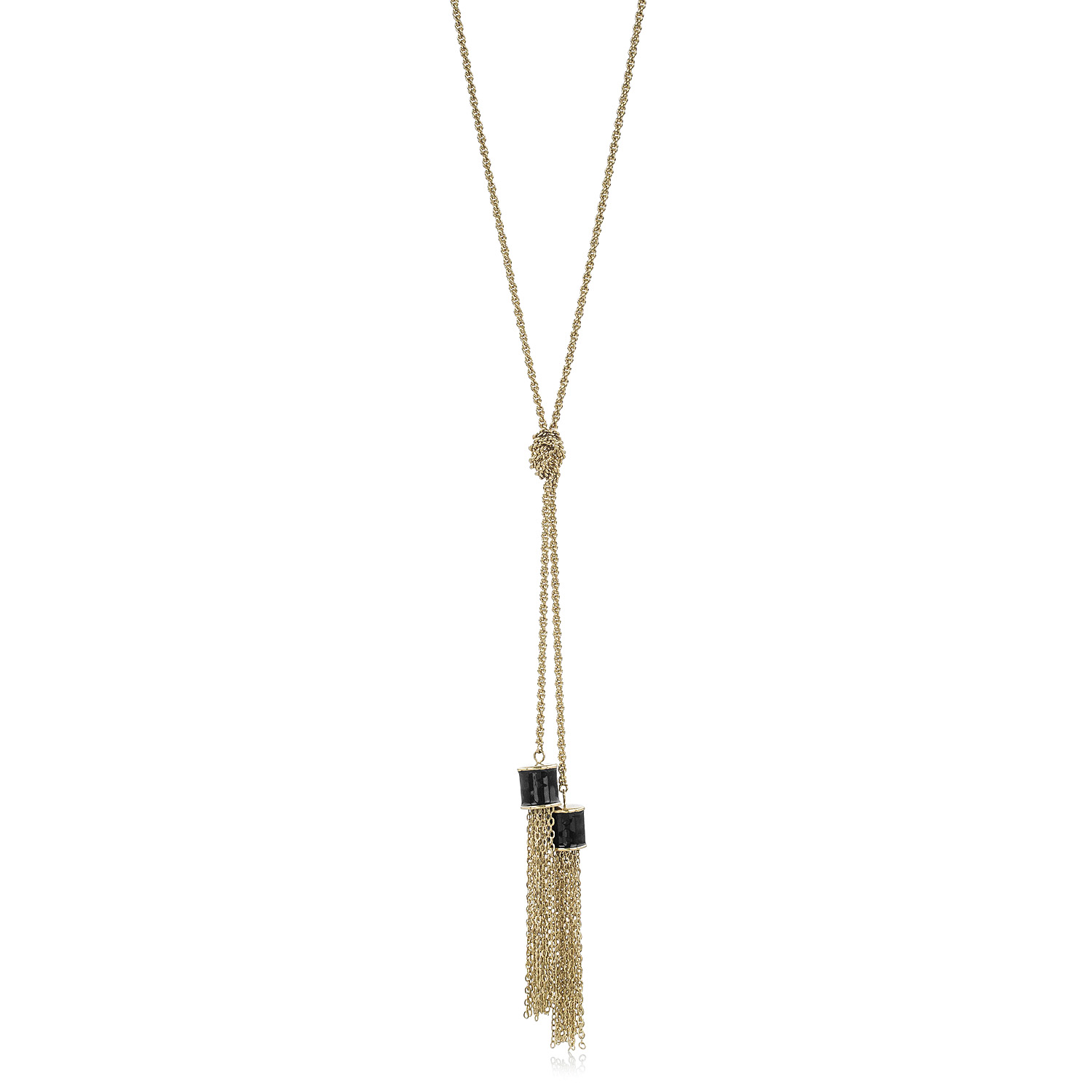 Fairhaven Duo Tassel Necklace Black Jewelry
