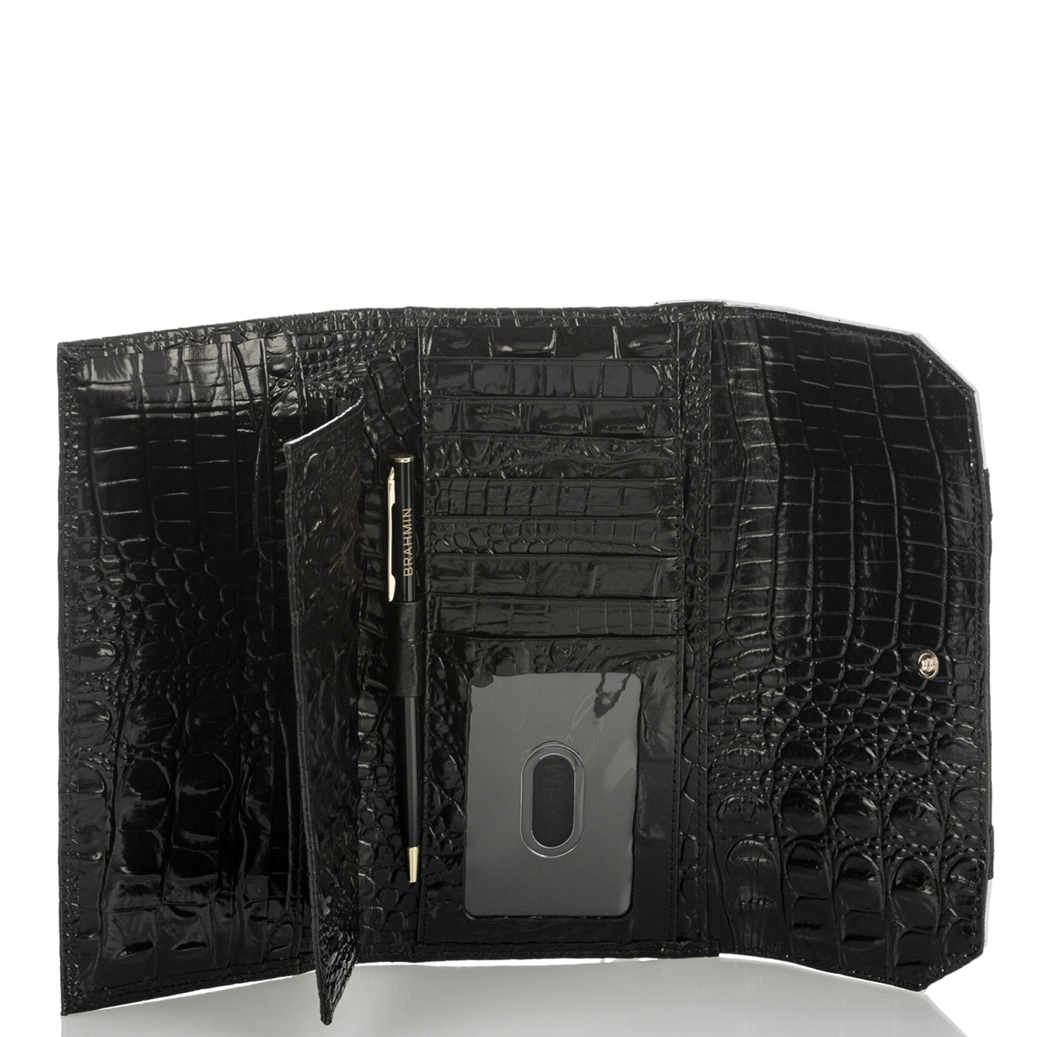Soft Checkbook Wallet Black Crane