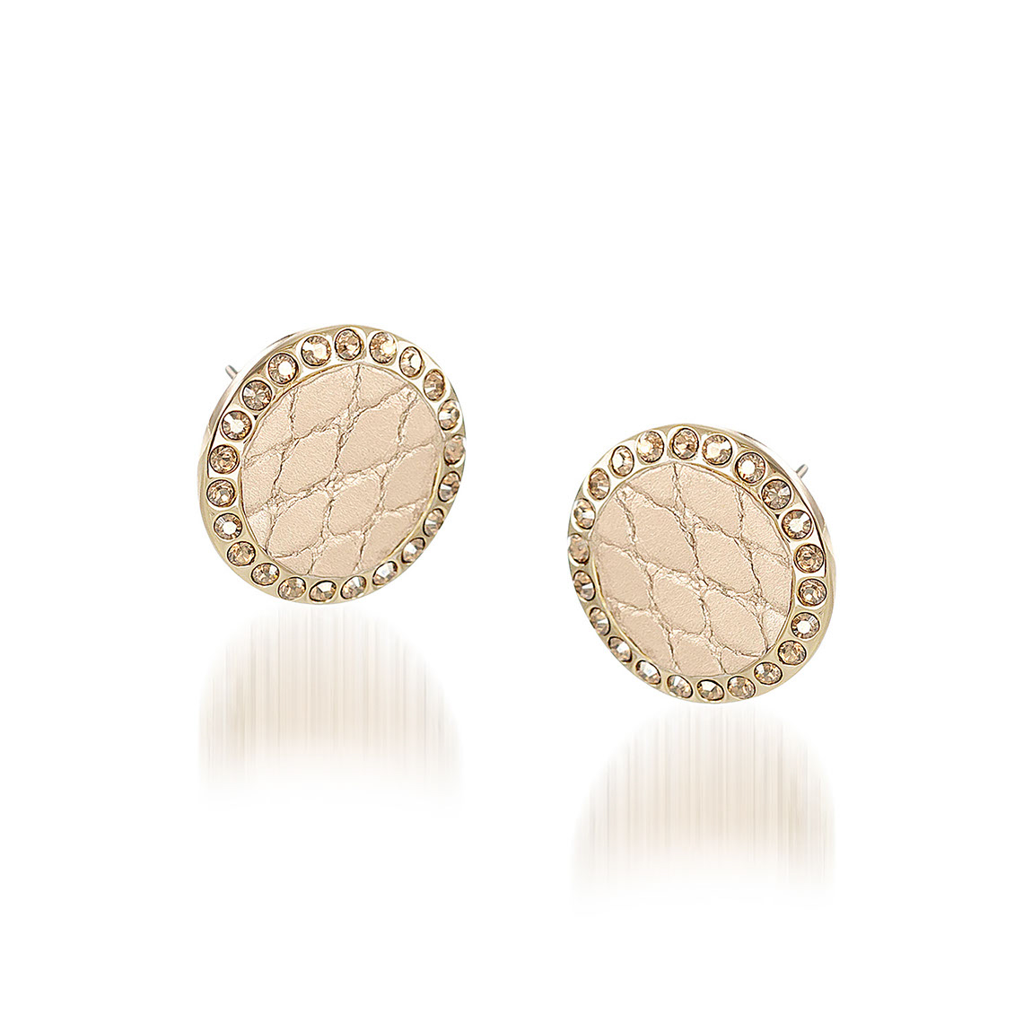Round Crystal Earrings Gold Fairhaven